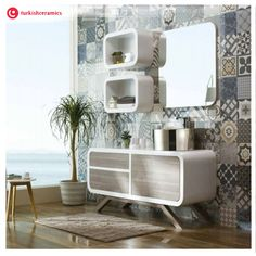Use patterned tiles for a dramatic feature in your living room #Turkishceramics