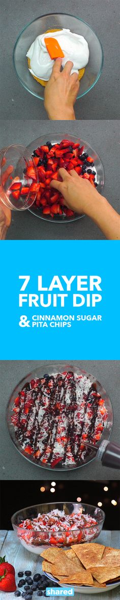 7 Layer Fruit Dip with Cinnamon Sugar Chips