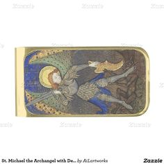 St. Michael the Archangel with Devil Gold Finish Money Clip