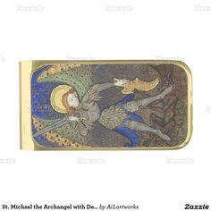 St. Michael the Archangel with Devil Gold Finish Money Clip