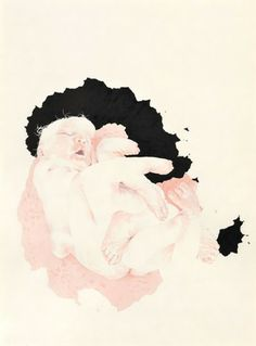 Josephine Taylor, Eight-Limbed Baby, 2009.  Colored ink and Sumi ink on paper.  28 ½ x 20 ½ inches unframed; 30 ¼ x 22 ¾ inches framed.