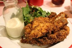 Crispy buttermilk dipped chicken with salad at Ma'Plucker, Soho, London