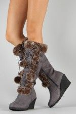 California Pom Pom Fur Lace Up Wedge Boot