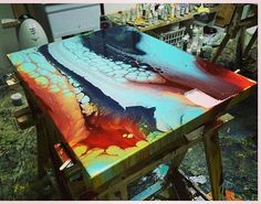 """Throwback resin piece from a few years ago """"up from…"""