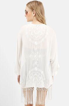Topshop Embroidered Fringe Kimono | Nordstrom