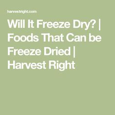 Will It Freeze Dry? | Foods That Can be Freeze Dried | Harvest Right