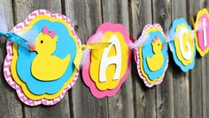 Rubber Duckie Baby Shower Banner, Rubber Ducky It's a Girl Banner, Rubber Duck Name Banner