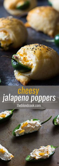 EASY Cheesy Jalapeno Poppers -- Made with a cream cheese mixture and crescent rolls... a perfect game day appetizer!