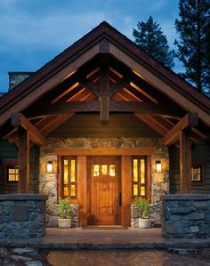 See more about what makes a timber frame home so special. Explore our photo & video galleries to experience the grandeur of our custom houses and find inspiration for your dream house. House With Porch, House Front, Front Porch, Front Entry, Entry Doors, Entryway, Architecture Résidentielle, Timber Frame Homes, Craftsman Style Homes