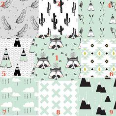 "Organic Baby Bedding Set ""Tribal Raccoon in Mint"", Gender Neutral Crib Sheet, Changing Pad, Crib Skirt, Baby Blanket, Teething Rail Guard"