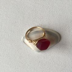 Made a Red Sea glass gold wire wrapped ring!