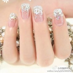 long-pointed nails with a unique personality that reveals the beauty of personality - Page 44 of 57 - BEAUTIFUL LIFE Bride Nails, Wedding Nails, Christmas Nail Designs, Christmas Nails, Trendy Nails, Cute Nails, Long Pointed Nails, Bridal Pedicure, Nail Art Designs