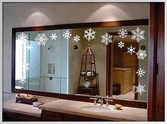 bathroom decoration items holiday window clings like these snowflakes are an elegant way to add seasonal decor to your bathroom mirror. Changing Seasons: Easy Winter Holiday Bathroom Decor from Bathroom Bliss by Rotator Rod Christmas Bathroom Decor, Christmas Room, Winter Christmas, Christmas Ideas, Christmas Island, Window Clings, Window Cling Vinyl, Xmas Decorations, Christmas Decorations Apartment Small Spaces
