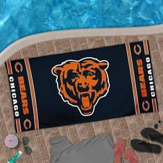 Chicago Bears Design Beach Towel - Navy Blue