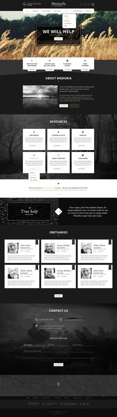 Memoria - Funeral Home PSD Template: Extensive and beautiful #PSD template for #funeral homes #RIP #website: