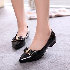 New Sexy Women Bowknot Decor Patent PumPs Pointed Toe Chunky heels Casual Shoes