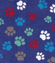 Snuggle Flannel Fabric-Paw Prints On Blue