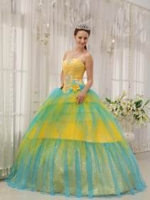 Colorful Yellow And Aqua Sequined Princess Quinceanera Gown For Girl