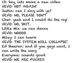 Be afraid vevo ;) :) haha but seriously if they all came together I don't think it would be bad haha!