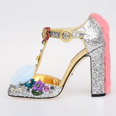 Dolce & Gabbana Glitter Leather Fiaba VALLY Shoes with Heel ($535) ❤ liked on Polyvore featuring shoes, silver, dolce gabbana shoes, leather sole shoes, leather footwear, glitter shoes and genuine leather shoes