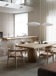Apartment in Dark Salmon on Behance Minimalist Interior, Minimalist Living, Modern Minimalist, Minimalist Architecture, Modern Architecture, Dining Room Design, Dining Area, Dining Table, Small Cabinet With Drawers