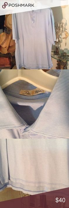 Peter Millar men's stripe golf shirt Size Large - double ,mercerized  cotton- pin stripe with matching tip stitch high low bottom hem used as photography sample like new Peter Millar  Tops