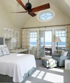 Ocean view bedroom.  Gray, white, cream