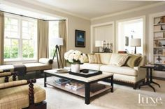 Traditional Neutral Colored Living Room