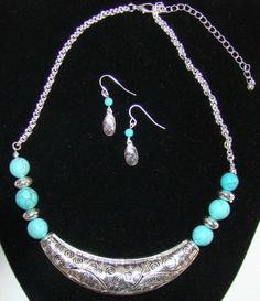Silver Crescent Turquoise Bead Bib Statement South Western Cowgirl Necklace Earrings Jewelry Set