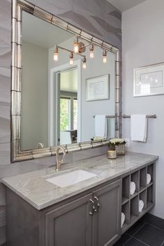 Artistic Tile's carved stone and Charleston mirror molding in this Bravo Interior Design bathroom. Tile provided by Architectural Tile & Stone Bathroom Interior Design, Interior Design Living Room, Floating Bathroom Vanities, Bathroom Ideas, Cabinet Molding, Glass Front Cabinets, White Cabinets, U Shaped Kitchen, Traditional Bathroom