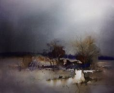High Plains Rain by John Lovett Watercolor Artists, Watercolor Landscape, Abstract Watercolor, Watercolor And Ink, Abstract Landscape, Landscape Paintings, Watercolour Paintings, John Lovett, Art Aquarelle
