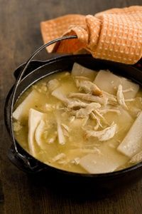 I love me some chicken and dumplings its my favorite food. Our chicken and dumplings are shredded chicken and egg noodles yummy