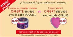 Une bougie de massage à la mangue offerte dès 69€ d'achat ou un coeur vibrant offert dès 149€ d'achat jusqu'à 12h le 10 Février 2016 seulement !