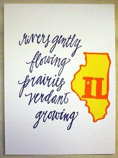Illinois letterpress print.