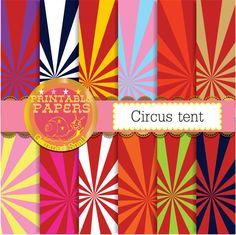 Circus starburst digital paper Circus Tent or sunray digital paper x 12 #etsymntt #paper