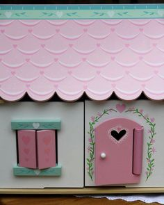 Lillys Cottage - Starter furniture set fully painted and decorated with heart motif, opening shutters and windows. – Size wide x deep x high Open Shutters, Kids Toys, Furniture Sets, Cottage, Windows, Deep, Heart, Frame, Painting