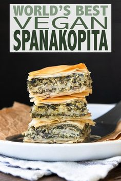This authentic Greek recipe has gotten a makeover and is better than ever. This authentic Greek recipe has gotten a makeover and is better than ever. This vegan spanakopita is hands down the absolute best you've ever had! Gourmet Recipes, Whole Food Recipes, Vegan Recipes, Healthy Greek Recipes, Catering Recipes, Eat Healthy, Healthy Snacks, Vegan Foods, Vegan Dishes