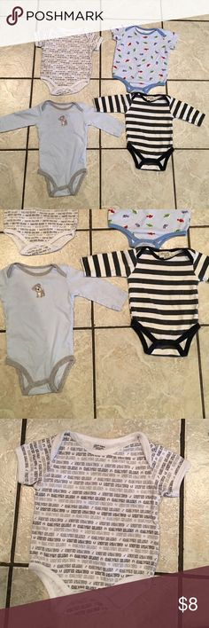 Baby Boy Onesies One Calvin Klein, one Okie Dokie, one Chick Pea, one Carter's. All 3-6 months. Two are almost brand new. The other two hardly worn. All in great shape. Carter's One Pieces Bodysuits