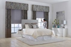 Box Pleated Valance with Beaded Fringe over Gathered Draperies with Custom Accent Pillows