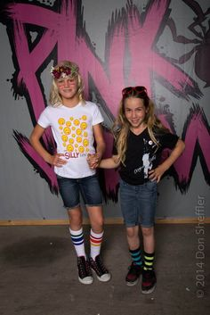 Sisters of Shred Bryce Ava Wettstein ( Silly Girl) and Brighton Zeuner (OG Betty) after working the runway! the Silly Life tee and the 3d OG Betty tee are both available at www.pinkwidowdistribution.com