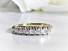 Vintage Diamond Wedding Band 14K Two Tone Gold Art Deco