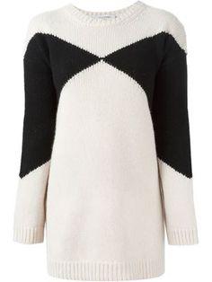 длинный свитер с геометрическим узором