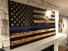 Thin Blue Line American Wooden Flag, Blue Lives Matter, Rustic Police Decor, Police Gift