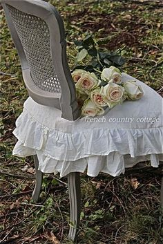 Pretty revised french country shabby chic home Check out French Dining Chairs, Dining Chair Slipcovers, Chair Cushions, Furniture Slipcovers, Chair Pads, French Decor, French Country Decorating, Room Paint Colors, French Country Cottage