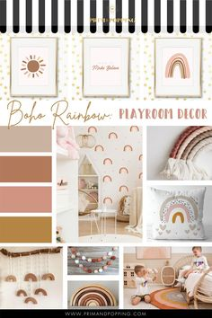 Jul 15, 2020 - Somewhere over the rainbow there is an earth tone boho rainbow playroom and you can create it with all these beautiful & neutral pieces from Etsy! Shop from the links below. Dreams are sure to come truewith this playroom! Sunshine Print Land of Make Believe Print Boho Rainbow Print Watercolour Boho Rainbow Wall Decals Baby Bedroom, Nursery Room, Girls Bedroom, Nursery Decals, Boho Nursery, Girl Nursery, Wall Decals, Rainbow Nursery Decor, Rainbow Bedroom