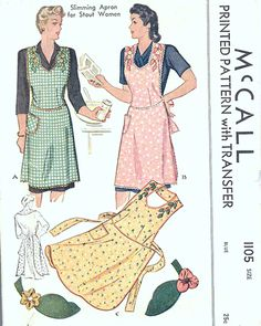 1940s SLIMMING Apron Pattern McCALL 1105 Classic 40s Kitchen Apron Includes Applique Transfers Bust 44-48 Vintage Sewing Pattern