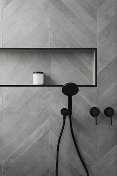 Affordable Stone Tiles Designs For Bathroom Shower Affordable Stone Tile Designs for the Bathroom Shower 23 Tuile Chevron, Chevron Tile, Grey Chevron, Chevron Bathroom, Bathroom Colors, Colourful Bathroom Tiles, Chevron Floor, Small Tiles, Bathroom Tile Designs