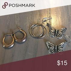 Lot of 3 pair silver earrings All 3 for one low price. The. Butterfly earrings are from fossil.   Others unknown. Fossil Jewelry Earrings