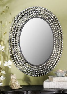 Jeweled Bling Oval Mirror