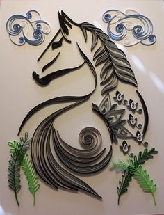 "One of a Kind - Stylized Quilled Horse - 11""x14"" by beckytorresquilling on Etsy"